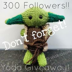 Don't forget to enter! Saskia's Ark has reached 300 followers and what a better way to celebrate that to do a Yoda giveaway to show how grateful I am!! The rules are as follows... #doordonotthereisnotry  1. Give Yoda some love  2. You must be following me 3. Repost this picture with @saskiasark #saskiasark 4. Comment on this photo and tag two of your friends The winner will be announced on Monday 21st March  Anyone can join in! The more the merrier!   #knit #yoda #giveaway #starwars…