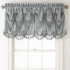 JCPenney Home Hilton Tuck Rod-Pocket Federal + Tuck Valance Valance Curtains, Tuscan Design, Tuscan Style, Curtains For Arched Windows, Small Windows, Country Valances, Balloon Shades, Blue Shutters, Federal