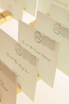 Postcard styled Escort Cards   See the wedding on SMP: http://www.StyleMePretty.com/2014/02/21/elegant-healdsburg-wedding-at-barndiva/ Matt Edge Wedding Photography