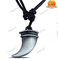 Unisex Dragon Tooth Pendant Necklace Nechlace Chain Jewelry Neck Decoration with PU Leather Chain Tinydeal