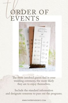 Keep things simple and provide your order of events card without getting too wordy. Get them printed on high-quality paper for a perfect finishing and choose your favorite paper. #weddingprograms #weddingprogram #weddingprogramcard #orderofevents #orderofevent #weddingtimeline #weddingpartycards #preludecards #simpleweddingprograms #rusticweddingprograms #weddingprogramtimeline Rustic Wedding Stationery, Rustic Wedding Programs, Laser Cut Wedding Invitations, Destination Wedding Invitations, Cream Wedding, Fall Wedding, Wedding Timeline, Wedding Welcome, Simple Weddings