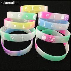 Randomly Send Glow in the Dark Star EXO Combination Sign Rubber Wristband Silicone Luminous Bracelet V2185