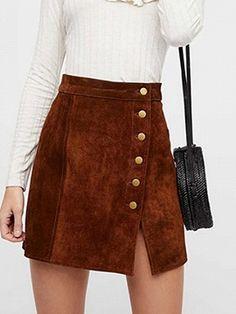 fa3331c4f00e3 Brown High Waist Button Placket Front Women Mini Skirt - Choies.com