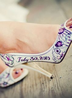 Hand-painted wedding shoes - so cool!