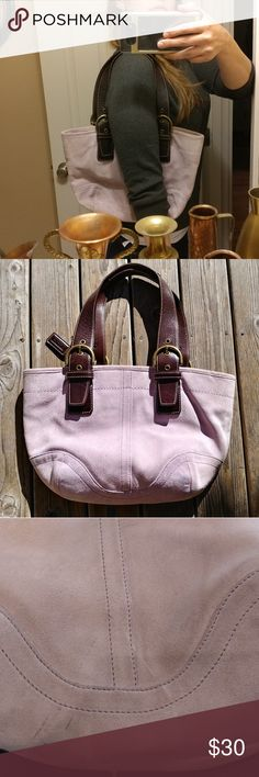 """Coach Lavender Purple Suede Leather Hobo Purse Gorgeous purple lavender suede Coach purse in good condition. Suede has a few very light dark areas and scratches, especially towards the bottom (pics 2, 6, & 8). Inside and straps are in excellent condition. Brass hardware has a little bit of wear to it (pic 7). I'm only selling it because I have WAY too many purses.   Inside tag reads: F05S-9523  Approximate measurements are: Height: 10"""" Length: 14.5"""" Depth: 2.5""""  I would say that the purse…"""