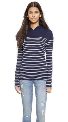 Engineered Stripe Hooded Sweater