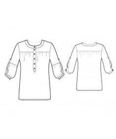 Made To Measure Sewing Patterns - Round-Neck Button-Down Blouse with Yoke