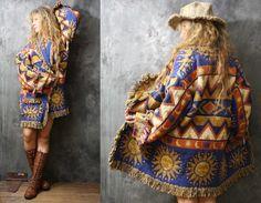 Vintage Fringe Blanket Coat Tapestry Jacket by MajikHorse on Etsy