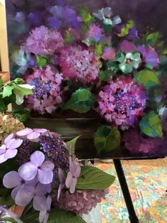 Lace Cap Hydrangeas, 20X20, oil My class demonstration in Lee's Summit, MO last week!