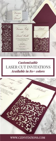 We love these totally custom Burgundy Laser Cut Wedding Invitations! These elegant invites are available with Gold, Silver and Rose Gold glitter or Mirror paper accents!