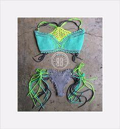 Aquamarine biquine custom crochet bikini by beijobaby on Etsy