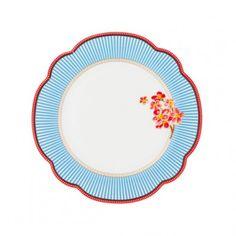 """Dessert plate, """"Seaside"""". Porcelain by Lisbeth Dahl Copenhagen. Spring/summer 2014. #LisbethDahlCph #dessert #plate #red #flower #blue #stripes"""