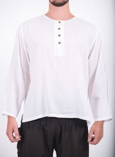 Mens Yoga Shirts No Collar with Coconut Buttons in White – Harem Pants