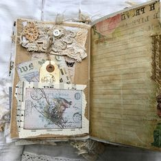 A few pages from my Parisian Junk Journal hope to have it filmed and up on YouTube tomorrow #vintage #paris #shabbychic #lace #tattered #parisian #snippetroll