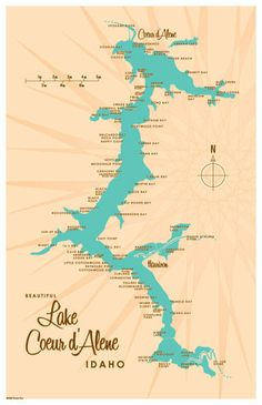 Lake Coeur d'Alene, ID Map 11x17 Print. Professional-grade digital print on heavy parchment paper with matte finish. www.lakebound.org