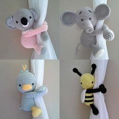 Curtain Tieback - Ready to Ship Cat - Bee - Frog - Duck - Panda - Dog - Elephant. - Curtain Tieback - Ready to Ship Cat - Bee - Frog - Duck - Panda - Dog - Elephant. Curtain Tieback - Ready to Ship Cat - Bee - Frog - Duck - Panda - . Crochet With Cotton Yarn, Crochet Yarn, Crochet Toys, Boy Crochet, Crochet Gifts, Crochet Pattern, Blanket Crochet, Baby Girl Curtains, Panda Dog