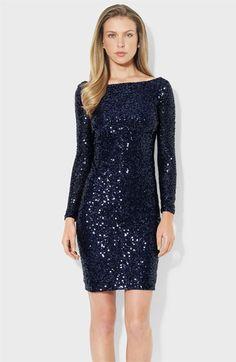 Lauren Ralph Lauren Scoop Back Sequin Sheath Dress. Taille