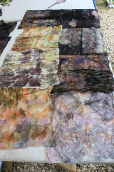 Ecodyeing: Eucalyptus and dyestuffs  from the garden as well as the nearby woods. Jen's squares. Naturaldyepot