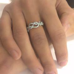 1 00 Carats Infinity Knot Ring Natural Diamond Wedding Band 14k White Gold | eBay