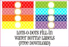 Free printable water bottle labels LotODotsBottleLabelGraphic It's so nice when creative people share their talent!