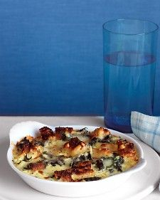 Spinach and Cheddar Strata - Martha Stewart Recipe  If you're sensitive to eggs or spinach, maybe skip this recipe. Be sure your bread crumbs are safe!