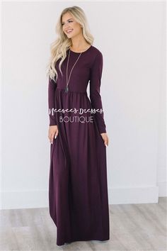 This is the perfect maxi dress! Buttery soft material, flattering long sleeves, cute gathered waist and of course front pockets! Our Mallory full length dress definitely has it all!