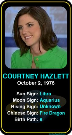 Celeb #Libra birthdays: Courtney Hazlett's astrology info! Sign up here to see more: http://astroconnects.com #astrology #horoscope #zodiac #birthchart #natalchart #courtneyhazlett