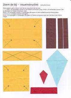 Zoem de bij - vouwinstructies Origami, Bee Theme, Paper Crafts For Kids, First Grade, Techno, Art For Kids, Website, Biology, Insects