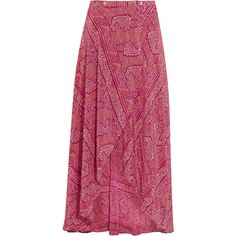 Vix Boho June printed silk crepe de chine wrap maxi skirt ($195) ❤ liked on Polyvore featuring skirts, saias, long skirts, plum, long bohemian skirt, long silk skirt, long boho skirts, wrap maxi skirt and long purple skirt