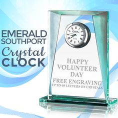 It's #InternationalVolunteerDay! Recognize #HardWork and Present Your #Volunteers With This Crystal Clock From Crown Awards!  https://www.crownawards.com/StoreFront/GLCLSU.ALL.Plaques.Emerald_Southport_Crystal_Clock.prod