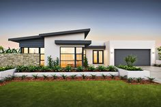 Képtalálat a következ?re: single story house facades australia Contemporary House Plans, Modern House Plans, Modern House Design, House Roof, Facade House, Facade Design, Exterior Design, Home Roof Design, Flat Roof House Designs