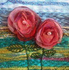 Organza flowers   handmade card by StitchMikki on Etsy, $6.00
