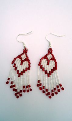 Dangling earrings with red and white Miyuki seed by JoolsbyAveril