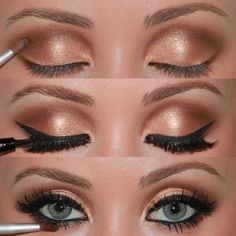 "Love this fresh take on the ""smokey eye"" done with brown & gold shadows.."