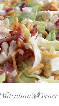 This Bacon Cauliflower Salad Recipe is going to become a regular on your menu. Iceberg lettuce with bacon, sweet onion, raw cauliflower, and mild cheddar cheese in a homemade whipped salad dressing. salad in a cup Salad Bar, Soup And Salad, Best Salad Recipes, Healthy Recipes, Cucumber Recipes, Veggie Salads Recipes, Recipes With Celery, Recipes Using Bacon, Sea Food Salad Recipes