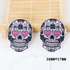 50pcs/lot Cartoon Tattoo Heart Skull Head Resin Flatback Kawaii DIY Planar Resin Craft for Home Decoration Accessories DL-547