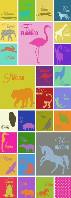 Free alphabet dowload #printables #alphabet #typography #graphics #animals #colorful