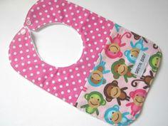 Baby Bib In Monkeys & Pink Dots by SaritaBaby on Etsy, $10.00 #handmade #baby #babyshower #babyshowergift #monkey