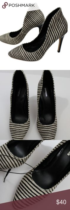 "Express Black & White Striped Pony Hair Heels Adorable striped heels! The back of the shoe adds so much interest. Definitely a statement piece! 4"" heel, heels show very minor marks. Otherwise great condition. Only worn once. One shoe still has the elastic from the store attached. No trades. Express Shoes Heels"