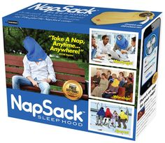 """NEW! Nap Sack - Let the napper in your life see why Chillaxation Weekly proclaims the Nap Sack to be the best """"Public Sleep Product."""" On the couch, in the house, by the pool, in your school, in the rain, at the game, you'll never nap the same! The Nap Sack Sleep Hood let's you take a nap, anytime... anywhere! 3 for $20! 6 for $40! $5 Flat Rate Shipping! MATERIALS: Made of American cardboard and ink.SIZE: 11.25 x 9 x 3.25 (About the size of a giant phone book)Made in the USA"""