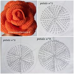 Roses are very symbolic flowers and we know them as queens of flowers. They are in nature in different colors and - SalvabraniFree Crochet Pattern with tutorial This project belongs to very easy, slowly step by step with written instructions you will Crochet Puff Flower, Crochet Flower Tutorial, Crochet Flower Patterns, Crochet Motif, Crochet Designs, Crochet Flowers, Knitting Patterns, Diy Crafts Crochet, Crochet Projects