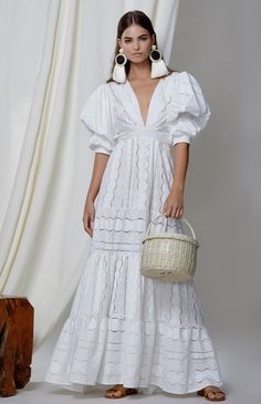 Nalabay Fashion V Neck Bubble Sleeves Hollow Out Pure Colour Maxi Dres – jollyluva style a maxi skirt summer dresses maxi cute maxi dress style maxi dress long maxi Elegant Maxi Dress, White Maxi Dresses, Casual Dresses, White Dress, Summer Dresses, White Lace, Lace Dresses, Holiday Dresses, Formal Dresses