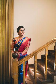 Shopzters is a South Indian wedding site Blue Silk Saree, Bridal Silk Saree, Saree Wedding, Silk Sarees, Saris, Beautiful Saree, Beautiful Bride, Wedding Saree Blouse Designs, Kanchipuram Saree