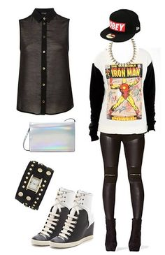 My fall fashion outfit #1 1. sleeveless blouse 2. iridescent shoulder bag 3. wrap watch 4. contrast wedge heels 5. awesome Obey snapback 6. Ironman fashion sweater 7. spiky statement niecklace 8. leather inset leggings w/ zippers