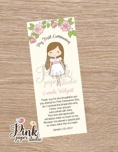 First Communion Favor Cards Bookmark Communion Girl First Communion Favors, First Holy Communion, Meaning Of Love, Clay Dolls, Holidays And Events, Card Stock, Prayers, Scrap, Prints