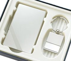 """Silver Key Ring & Silver Business Card Case Gift Set. Size: 4 15/16"""" x 5 11/16"""" x 15/16""""  #favor #gift #cheap #weddingfavor #fashion #personalize"""