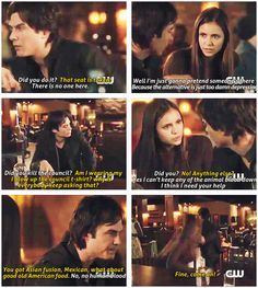 """I thought this scene with the chair was funny even though I realized he was """"saving"""" Alaric's seat. It came off as Damon being anti-social and annoyed by everyone/everything.Then the end of the episode happened and this scene is no longer funny at all, but kind of heart-wrenching."""