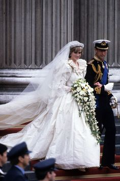 JULY 1981 – Prince Charles and Diana were married at St Paul's Cathedral on July 29 1981. Diana's dress – like Kate Middleton's – was a closely guarded secret until the day of her wedding. She worked closely with Elizabeth and David Emanuel on the dress, which featured a ruffled neck, full sleeves and skirt, and a 25-foot train - the longest in royal wedding history.