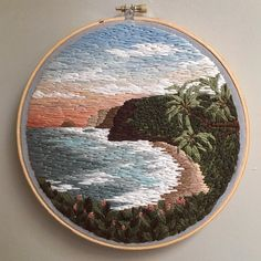 Russian artist Vera Shimunia creates colorful embroidery designs that look like pieces of landscape art. Using various embroidery stitches, each embroidery Crewel embroidery a practical guide crewelembroidery salvabrani Billowing Cl Hand Embroidery Stitches, Modern Embroidery, Embroidery Hoop Art, Crewel Embroidery, Hand Embroidery Designs, Cross Stitch Embroidery, Ribbon Embroidery, Thread Painting, Oeuvre D'art