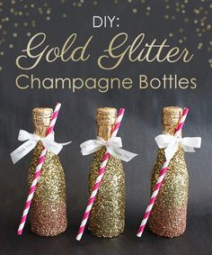 DIY Gold Glitter Champagne Bottles for your bachelorette party favors! Wedding Favors And Gifts, Party Favors, Shower Favors, Glitter Party, Gold Glitter, Glitter Bachelorette Party, Glitter Vases, Bachelorette Favors, Glitter Gif